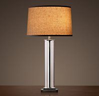 French Column Glass Table Lamp Aged Steel