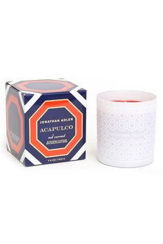 """Smells like: pineapple red currant apple musk and blonde woods.  Feels like: landing your private plane in a tropical paradise a kiss from Audrey Hepburn picking fresh berries.  3.5"""" H  7.5 oz. candle  Approximate burn time: 40 hours Acapulco Candle by Jonathan Adler. Home & Gifts - Home Decor - Candles & Scents Amarillo Texas"""