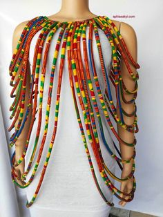 WUSULU KENTE necklace is made with carefully selected african print, designed for the bold and beautiful, multi strand shoulder to shoulder necklace, perfect for any occasion with a durable lace strap at the back SHIPPING most items are made when ordered Fabric Necklace, Rope Necklace, Multi Strand Necklace, Fabric Jewelry, Necklace Extender, Wire Earrings, African Print Fashion, Africa Fashion, African Fashion Dresses