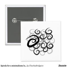 Spirals for a minimalisms lover pinback button -  design by Charles Bridge 7x, buy in The Spiral Store