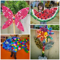Here are a bunch of plastic bottle cap crafts for kids to make! Some also use li… Here are a bunch of plastic bottle cap crafts for kids to make! Some also use lids to make fun murals in the classroom. Kids Crafts, Crafts For Kids To Make, Summer Crafts, Art For Kids, Diy And Crafts, Arts And Crafts, Kids Diy, Decor Crafts, Crafty Kids