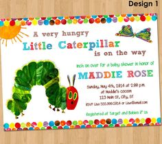 Very Hungry Caterpillar Baby Shower Invitation - Printable Party Invite Gender Neutral - Custom Personalized Photo Card 4x6 5x7 on Etsy, $11.07 AUD
