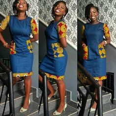 Jean Gown With Ankara Patches: Top 15 Styles Latest African Fashion Dresses, African Print Dresses, African Print Fashion, Africa Fashion, African Dress, Ankara Fashion, African Prints, African Fabric, African Attire