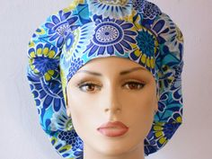 Scrub Hats Modern Floral Medallions in Shades of by SilverCaps