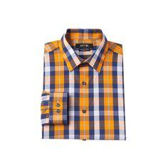 Men's Apt. 9® Extra-Slim Fit Gingham-Checked Stretch Dress Shirt, Size: 17.5 36/37, Brt Orange