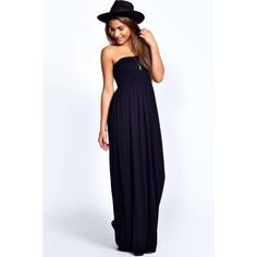 Boohoo Basics Shelley Shirred Bandeau Maxi Dress ($20) ❤ liked on Polyvore featuring dresses, navy, maxi dress, boohoo dresses, ruched maxi dress, stretch dress and boho chic dresses