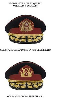 Gorras de etiqueta de generales del Ejército de Chile / Chilean Army generals' dress uniform visor cap