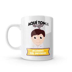 Mug - Aquí toma el mejor ingeniero del universo, encuentra este producto en nuestra tienda online y personalízalo con un nombre o mensaje. Chocolate Caliente, Snoopy, Mugs, Tableware, Gifts, Love Amor, Ideas, Physical Therapist, China Mugs