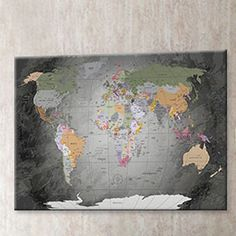 Executive world map canvas print canvases and printing world map framed graphic art print poster in grey gumiabroncs Image collections