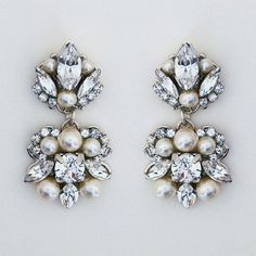 Sara Gabriel Chelsea Earrings ~ Crystal and pearl drop earrings featuring marquis crystals and your choice of white or pale ivory pearls. Bridal Accessories, Wedding Jewelry, Jewelry Accessories, Accessories Display, Bridesmaid Jewelry, Stylish Jewelry, Fashion Jewelry, Jewelry Armoire, Wedding Earrings