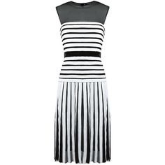 Reinaldo Lourenço contrast stripe dress (5.950 BRL) ❤ liked on Polyvore featuring dresses, black, mixed print dress, print dress, striped silk dress, pattern dress and silk print dress