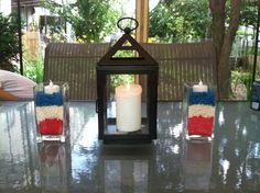Red, White, & Blue  rice  center piece