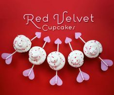 Cupid's Arrow Cupcakes - I was in the mood to make some red velvet cupcakes this weekend. Red velvet cake is so pretty on it's own, you really don't need to do much to decorate it. A luscious cream cheese frosting works just fine most of the time.  But since Valentine's Day is coming up soon, I wanted to do something simple and fun for the occasion  #Valentine #Valentinstag #Geschenk #Muffins #Cupcakes #Backen