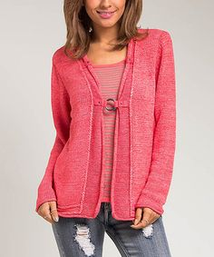 Another great find on #zulily! Coral One-Piece Buckle Cardigan Top #zulilyfinds