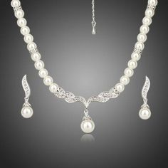 Platinum Plated Imitation Pearl Strand Earrings and Necklace Jewelry Set  #rings #necklace #fashion #womensfashion #earrings #women #dresses #jewelry #khaista