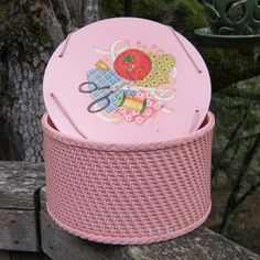 Princess Wicker Sewing Basket Pink