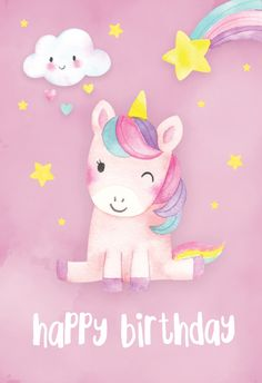 'Happy Unicorn' - Birthday card template you can print or send online as eCard for free. Personalize with your own message, photos and stickers. Unicorn Birthday Cards, Happy Birthday Wishes Cards, Birthday Wishes Quotes, Happy Birthday Images, Birthday Pictures, Free Birthday, Happy Birthday For Kids, Happy Birthday Wallpaper, 30th Birthday