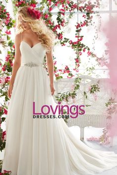 2016 Simple Wedding Dresses A-Line Spaghetti Straps Court Train Tulle Covered…