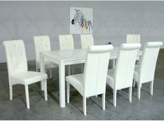 Broderick Shiny White Contemporary White Dining Set