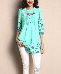 Another great find on #zulily! Turquoise Floral Chiffon Notch Neck Pin Tuck Tunic #zulilyfinds