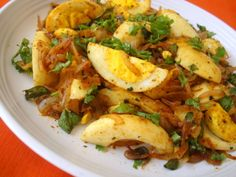 Quick boiled egg stir fry. An amalgamation of North and South Indian style of culinary preparation. Aromatic curry leaves and spices, kasuri methi, fresh coriander leaves and caramelized onions give the quartered boiled eggs an addictive taste. Serve as an appetizer or a dry saute with rice or rotis.