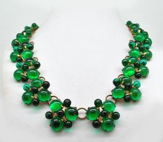 ANTIQUE CZECH GLASS EMERALD GREEN CABOCHON NECKLACE -late 1800's to early 1900's