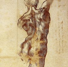Michelangelo,  A Male Figure Seen from Behind  (detail),  ca. 1504.  Pen and ink over some black chalk,  40.9 x 28.5 cm.  Casa Buonarroti, Florence.