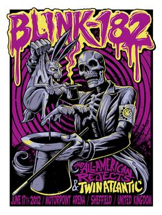 INSIDE THE ROCK POSTER FRAME BLOG: B. Heart aka Brandon Hunsaker Blink 182 Sheffield England World Premier Artist Edition Poster and On Sale Details