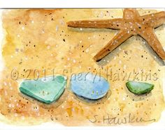 Starfish and Sea Glass on the Beach ACEO by MermaidsPalette