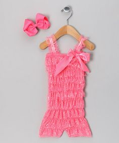 Take a look at this Neon Pink Romper & Bow - Infant, Toddler & Girls by Born 4 Couture on #zulily today!