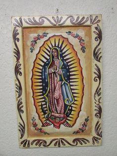 Virgen de Guadalupe Retablo #4-Mexican Folk Art-15x24-Artist Handpainted-Wooden