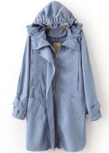 Blue+Hooded+Long+Sleeve+Pockets+Trench+Coat+US$32.79