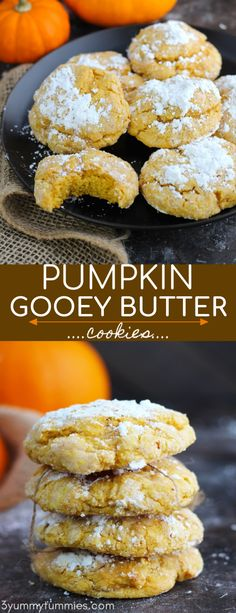 These Pumpkin Gooey Butter Cookies are super easy to make with vanilla cake mix. Canned pumpkin, butter and cream cheese are added for the perfect gooey texture Pumpkin Cookie Recipe, Pumpkin Butter, Easy Cookie Recipes, Pumpkin Recipes, Gooey Butter Cookies, Cake Mix Cookies, Cookies Et Biscuits, Pumpkin Cookies With Cake Mix, Sandwich Cookies