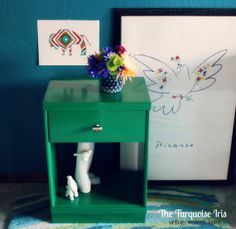 Painted Furniture, Mid Century Night Stand / End Table / Side / by TheTurquoiseIris, $135.00