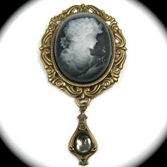 Neo Victorian Cameo Brooch in Black and White