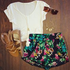 Patterned shorts can be dressed up or down depending on your shirt and shoes! Love this combination!