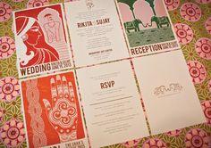 Modern vintage Indian wedding invitations by oliveandviolet.com
