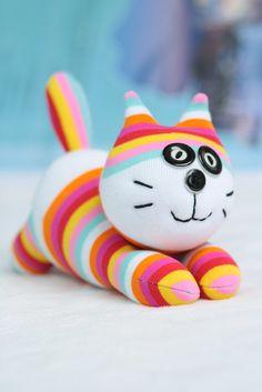 Handmade cat little girl gift sock doll stuffed by hellykary, $10.50