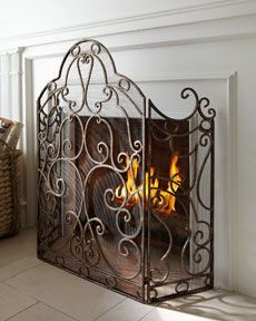 This Would Look Great In A Elegant Western Living Room Scroll Fireplace Screen From Horchow