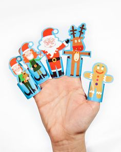Christmas Paper Finger Puppets - Printable PDF Toy - DIY Craft Kit Paper Toy - Santa Claus Rudolf Reindeer Elf Ginger Men.  via Etsy.