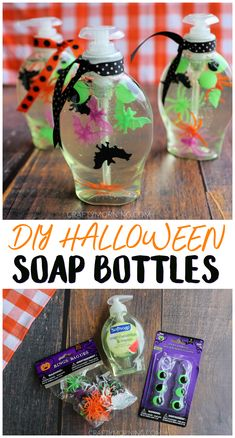 DIY Halloween Soap Bottles- cute spooky bathroom halloween decor to make. Craft diy project to make for fall. The kids will love washing their hands Craft DIY Halloween Soap Bottles Diy Halloween Party, Halloween Crafts For Toddlers, Holidays Halloween, Halloween Bottles, Halloween Makeup, Dollar Store Halloween, Halloween Costumes, Diy Halloween Activities, Diy Halloween Decorations For Outside