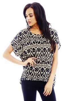 over sized monochrome tribal print top
