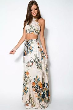 Floral Crop Top Maxi Skirt Sets