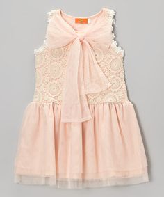 Another great find on #zulily! Peach Lace Bow Mandala Dress - Toddler & Girls #zulilyfinds