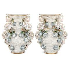 Pair of antique Meissen style Schneeballen vases | Style of Meissen Porcelain Manufactory (German, founded 1710) | German | Late 19th Century. More details online at mayfairgallery.com May Flowers, White Flowers, Rococo Style, Porcelain Vase, Pale Pink, Candle Holders, Delicate, Pairs, Antiques