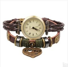 Female bracelet watch,quartz retro small love weaving knitting