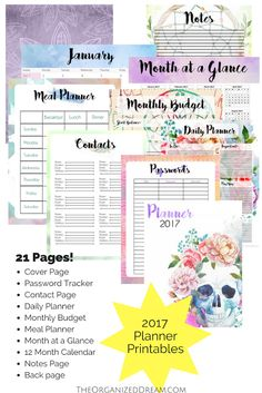 You can snag this 21 page planner right now for FREE and it will come with a 12 page calendar for 2017! Organize your life!