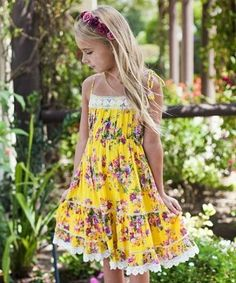 Cupcakes & Pastries Yellow Floral Lace Sun Dress