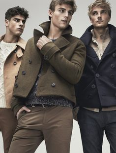 Totally love these cropped pea coats! Left: Coat by D, sweater by Tom Ford, pants by Dockers. Middle: Coat by Richard Chai, sweater by Z Zegna, pants by Calvin Klein Collection. Right: Coat by Burberry Prorsum, sweater by Banana Republic, pants by Express.