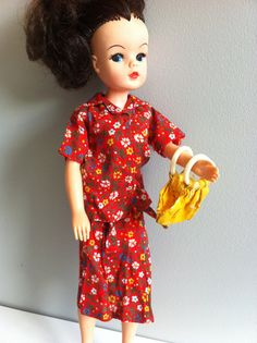 1970's Sindy clothes floral blouse skirt shoes mustard